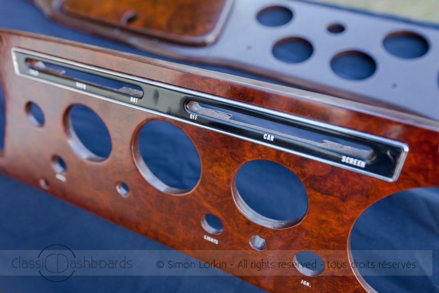 Wooden dashboard restoration with replacement lettering